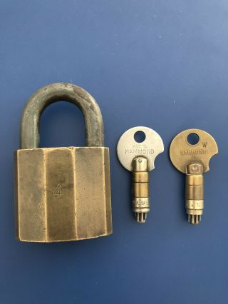 Rare Antique NIX PIX Brass High Security Padlock Two Operating & Withdrawal Keys 2