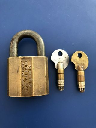 Rare Antique NIX PIX Brass High Security Padlock Two Operating & Withdrawal Keys 3