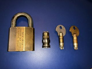 Rare Antique NIX PIX Brass High Security Padlock Two Operating & Withdrawal Keys 8