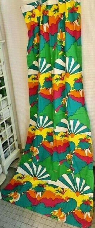 Vintage Four Panels Peter Max Psychedelic Drapes 1970s - Rare