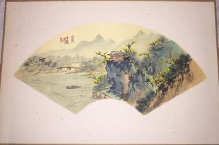 Rare Antique Chinese Fan Painting On Silk Fantastic Country Landscape
