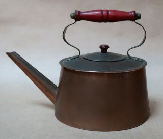 Vintage Antique Copper Kettle With Wooden Handle