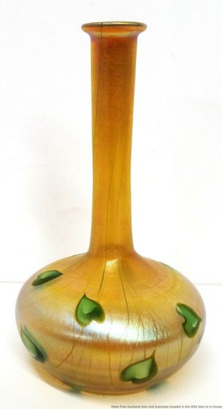 Louis Comfort Tiffany Antique Favrile Iridescent Aurene Ivy Leaf Bud Vase 8767