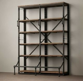 Restoration Hardware French Library Double Shelving Bookcase,  Antiqued Iron