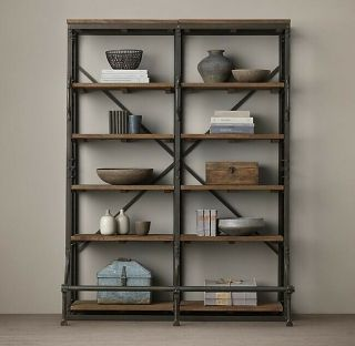 Restoration Hardware French Library Double Shelving Bookcase,  Antiqued iron 2