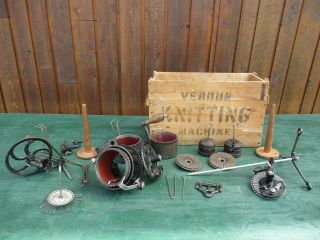 Antique Verdun Auto Csm Knitter Machine 3 Cylinder 54 72 84,  3 Ribber 27 36 42