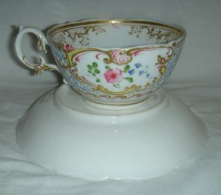 QUALITY ANTIQUE HR DANIEL MOULDED CUP & SAUCER HAND PAINTED FLOWERS 4630 10