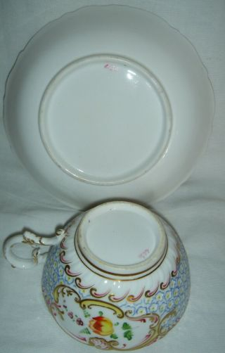 QUALITY ANTIQUE HR DANIEL MOULDED CUP & SAUCER HAND PAINTED FLOWERS 4630 11
