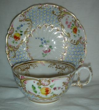 QUALITY ANTIQUE HR DANIEL MOULDED CUP & SAUCER HAND PAINTED FLOWERS 4630 12