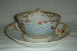 QUALITY ANTIQUE HR DANIEL MOULDED CUP & SAUCER HAND PAINTED FLOWERS 4630 2