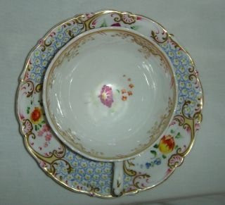 QUALITY ANTIQUE HR DANIEL MOULDED CUP & SAUCER HAND PAINTED FLOWERS 4630 5