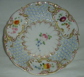 QUALITY ANTIQUE HR DANIEL MOULDED CUP & SAUCER HAND PAINTED FLOWERS 4630 6