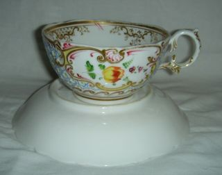 QUALITY ANTIQUE HR DANIEL MOULDED CUP & SAUCER HAND PAINTED FLOWERS 4630 7