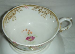 QUALITY ANTIQUE HR DANIEL MOULDED CUP & SAUCER HAND PAINTED FLOWERS 4630 8