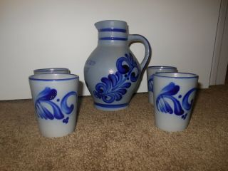 Neuensteiner Salt Glaze Stoneware Pottery Pitcher W/cobalt Blue & 4 Glasses