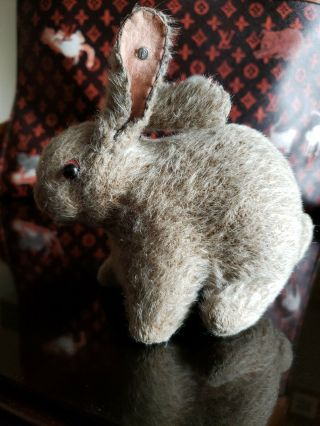 Wonderful Antique Steiff Mohair Wool Rabbit Bunny With Button