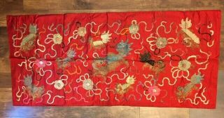 Antique 1900s Chinese Silk Tapestry,  Gold Thread,  Elaborate Dragon Embroidery