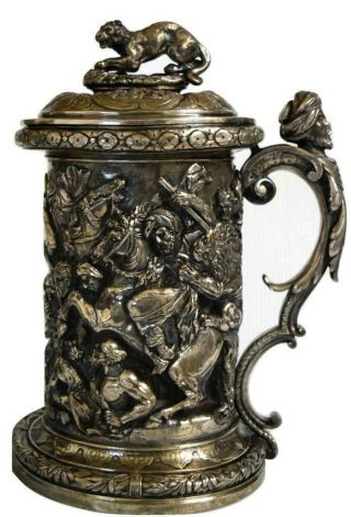 Antique Elkington & Co.  Silver - Plated Covered Tankard Birmingham England Ca 1885