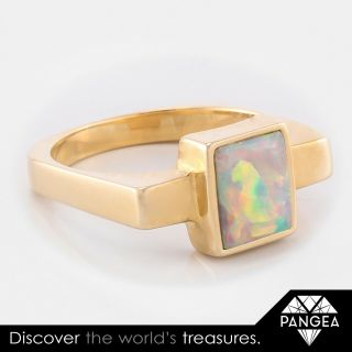 Vintage Estate 14k Solid Yellow Gold 1.  75ct Polished Opal Ring Size 6.  25