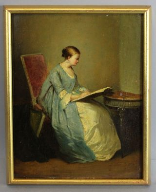 19thc Antique Marguerite Gerard French Portrait Oil Painting,  Woman Reading Book