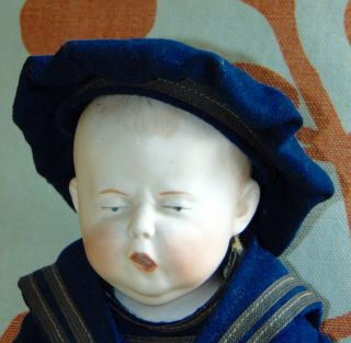 "Very Rare Antique Bisque Character Doll "" Spinach Boy "" German Heubach 7761"