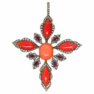 Cathy Waterman 22k Gold Diamond Coral Ruby Pendant $15780