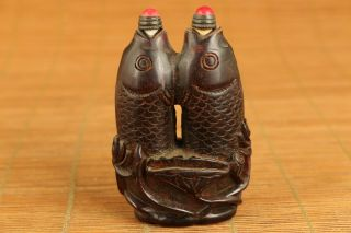 Antique Chinese Old Yak Horn Hand Carved Fish Snuff Bottle