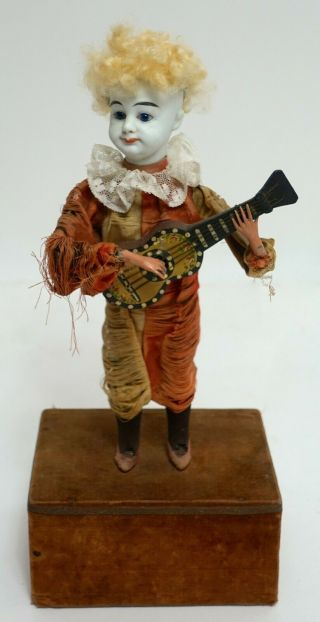 Roullet & Decamps Automaton Mechanical Moving / Music Box Guitar Play Harlequin