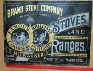 Antique Tin Sign Brand Stove Company Milwaukee Wi,  Parlor & Cook Stoves,  19th C.