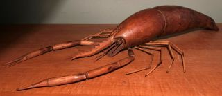 Antique Carved Wood California Spiny Lobster Life Size Sculpture