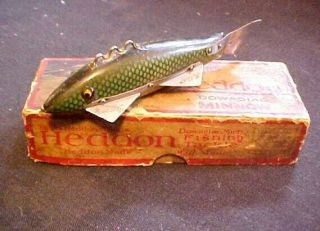 Vintage Green Scale Heddon Fishing Decoy Antique Tackle Box Bait Spearing Musky