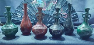 Old Chinese Qing Dynasty Antique Bronze Enameled Vases