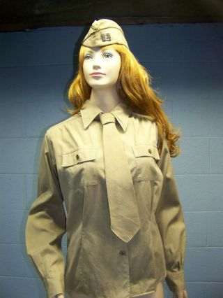Wwii U.  S.  Army Wac Waac Womans Female Ladys Khaki Shirt And Khaki Tie