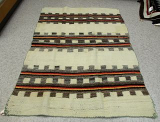 """Antique Navajo Transitional Blanket White Field With Yellow/red 38 """" X 60 """" C.  1890"""