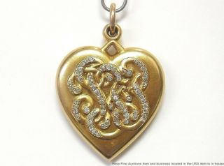 18k Gold 1ctw Diamond Giant Heart Locket Pendant 1904 St Louis Worlds Fair