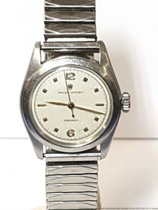 1950s 6020 Rare Rolex Oyster Precision Men Running Stainless Steel Vintage Watch