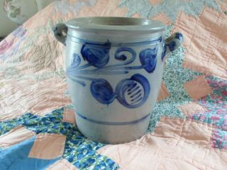 "Very Large 10 1/2 "" High Westerwald Cobalt Salt Glaze Stoneware 2 Handled Crock"