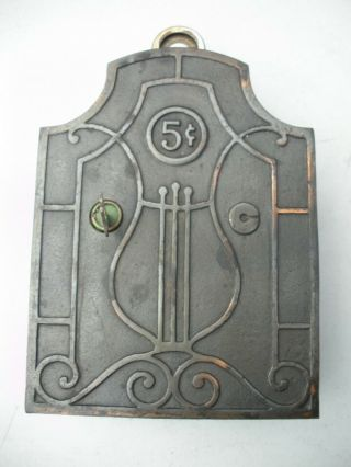 Rare Vintage 5 Cent Nickelodeon Cast Iron Player Orchestration Coin Op