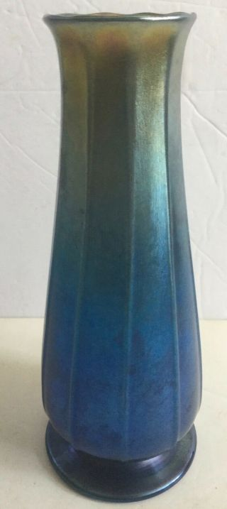Antique Louis C.  Tiffany Signed Blue Favrile Vase - Ols Esate