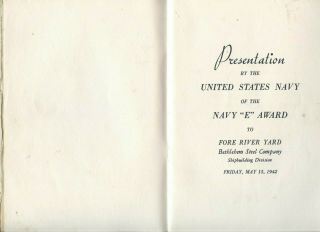 "1942 Program U.  S.  Navy "" E "" Award To Bethlehem Steel Fore River Yard Quincy,  Ma"