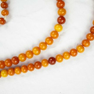 Baltic Butterscotch Amber Beads Egg Yolk Smooth Necklace Vintage 169 Grams | 77