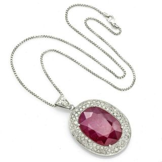 Vintage 18k White Gold 30.  9 Ct Ruby & 3.  24 Tcw Diamond Cluster Pendant Necklace