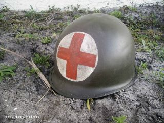 Wwii 2 Panel Medic M1 Military Army Helmet