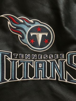 Vtg 1999 Tennessee Titans Leather Coat Bomber Jacket Size 4x Carl Banks G - Iii