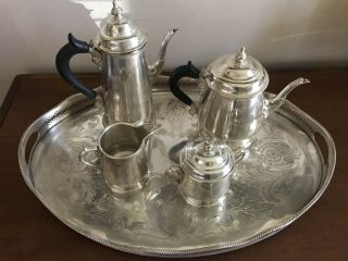 Fisher Sterling Four Piece Tea/coffee Set W/ John Seymour Silver On Copper Tray