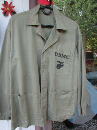 U.  S.  Marine Corps Wwii Utility Jacket.  With Metal Buttons In.