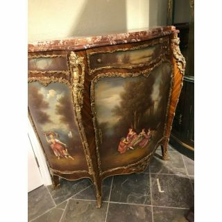 Curio Cabinet Hand Painted W/ Terracotta Marble Top