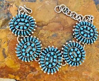 Native American Style Vintage Sterling Silver Turquoise Petit Point Inlay