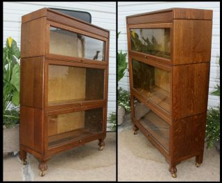Glorious Antique Quarter Sawn Oak 3 Stack Barrister Lawyer Bookcase W Claw Feet