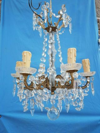 Antique French,  Gorgeous Bronze And Crystal Chandelier,  Attributed To Baccarat,  19t